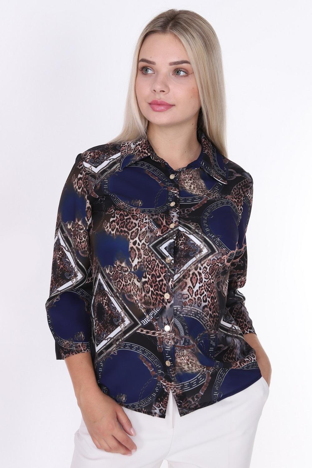 Leopar Desenli Düğmeli Lacivert Bluz