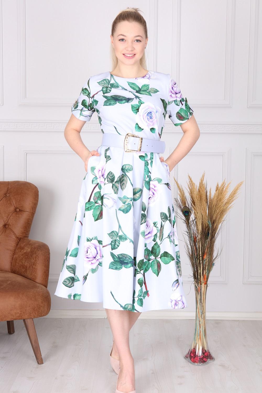Lila Çiçek Desenli Elbise