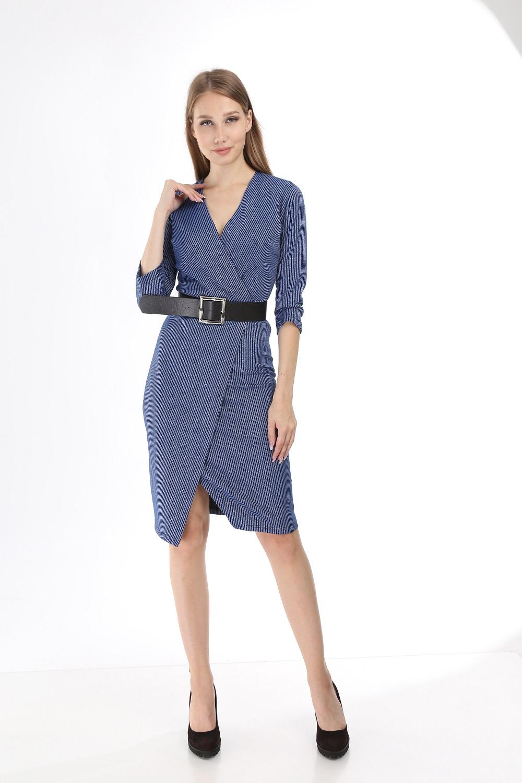 Mavi Simli Çizgili Triko Elbise