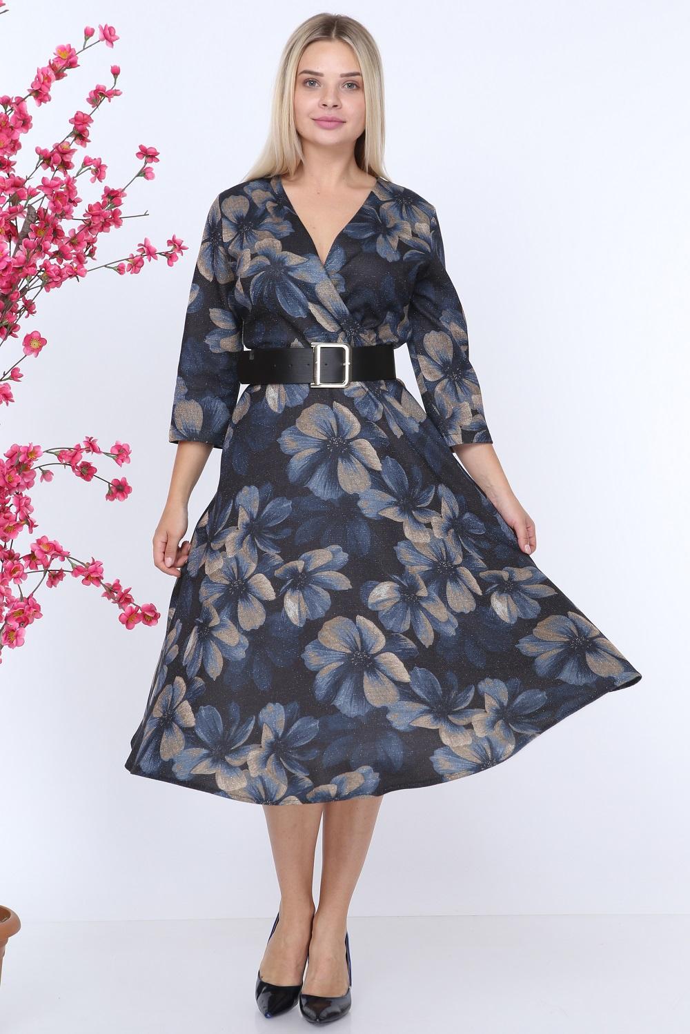 Çiçek Desen Lacivert Elbise