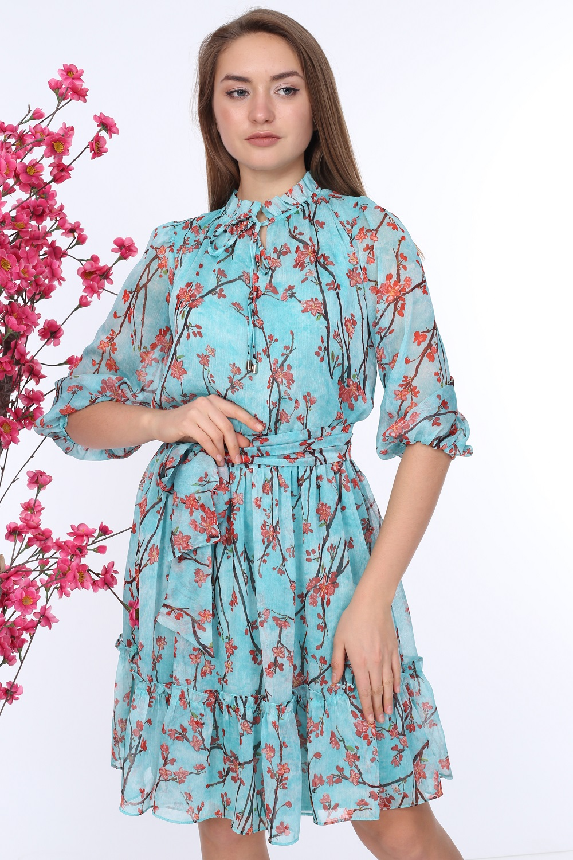 Mint Kuşaklı Desenli Elbise