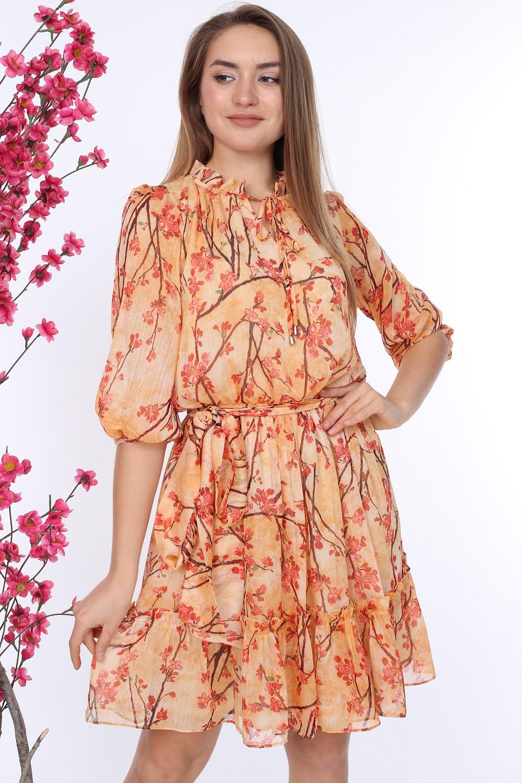 Oranj Kuşaklı Desenli Elbise