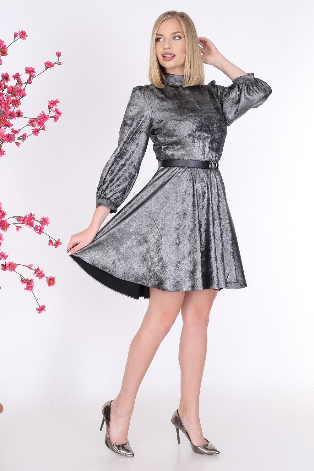 Parlak Gümüş Renk Elbise