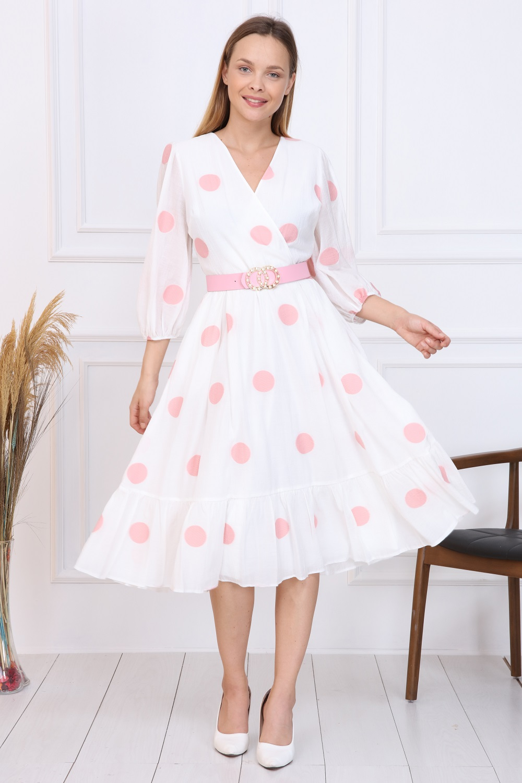 Pembe Puantiyeli Fransız Elbise