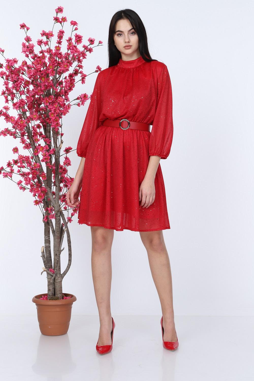 Simli Kırmızı Elbise