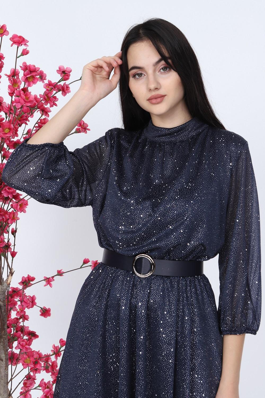 Simli Lacivert Elbise