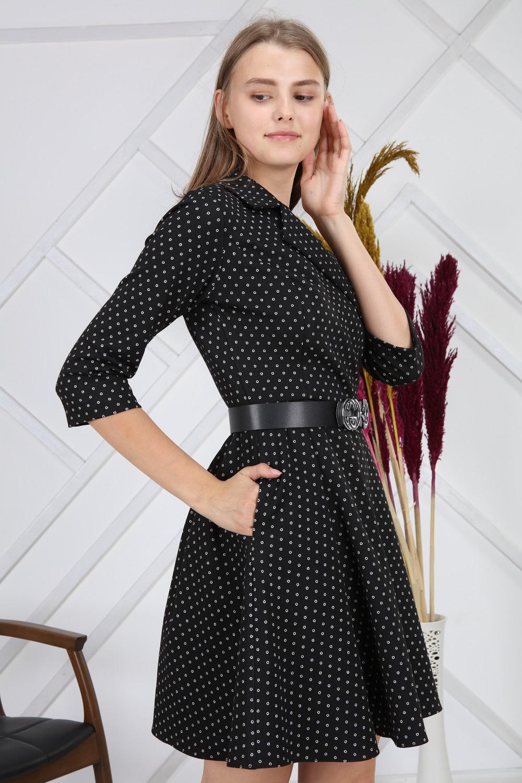 Simli Yuvarlak Desenli Siyah Elbise