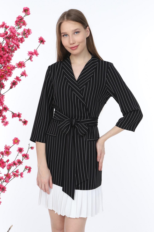 Piliseli Çizgili Siyah Elbise