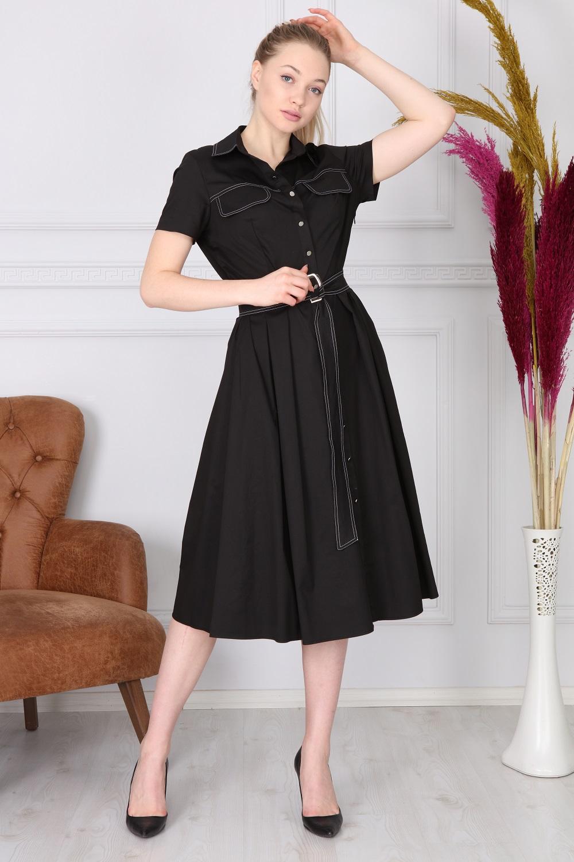 Siyah Basic Yakalı Elbise