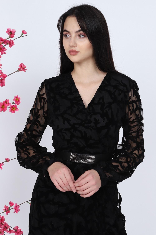 Floklu Siyah Elbise