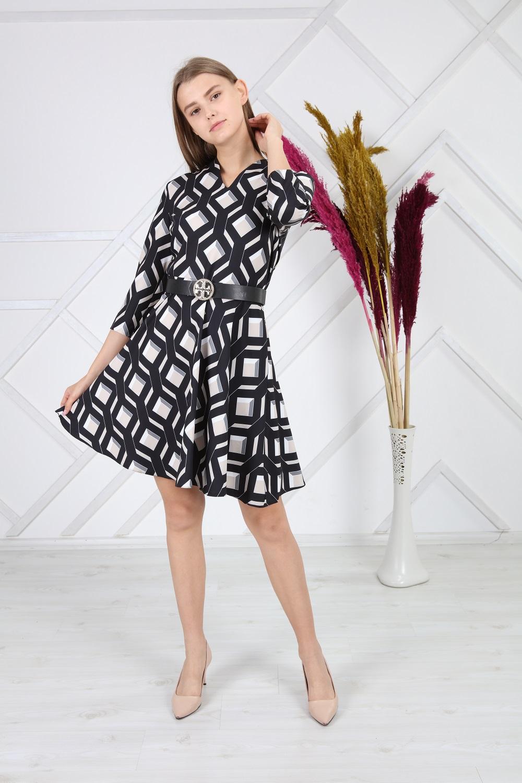Siyah Kareli Desenli Elbise
