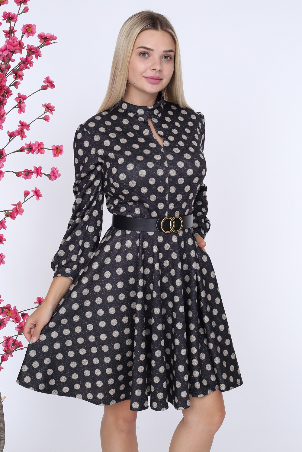Siyah Puantiyeli Kemerli Elbise