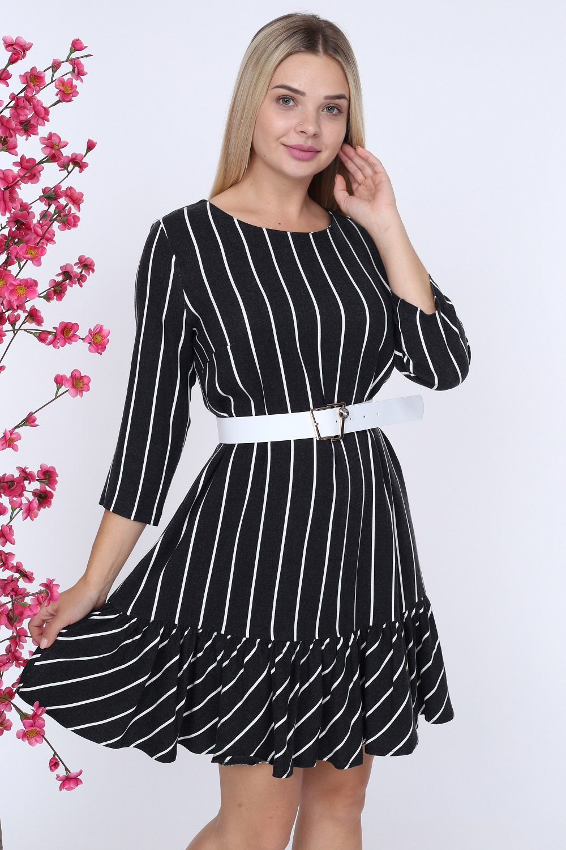 Siyah Çizgili Beyaz Kemerli Elbise