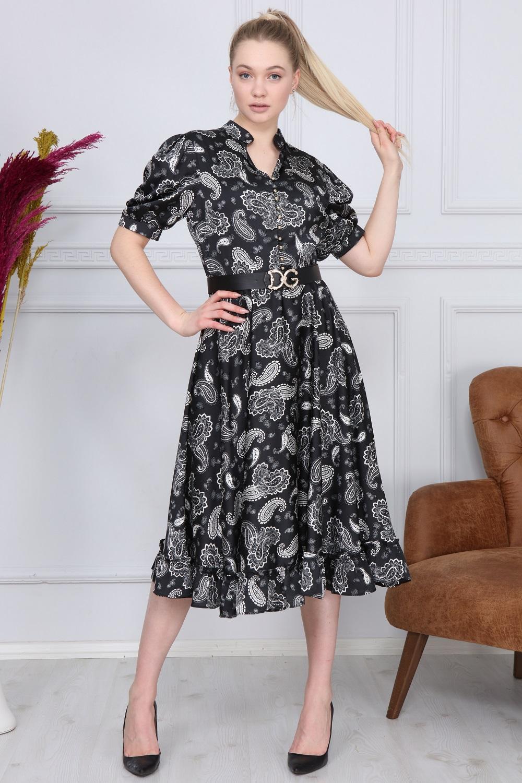 Siyah Şal Desen Elbise
