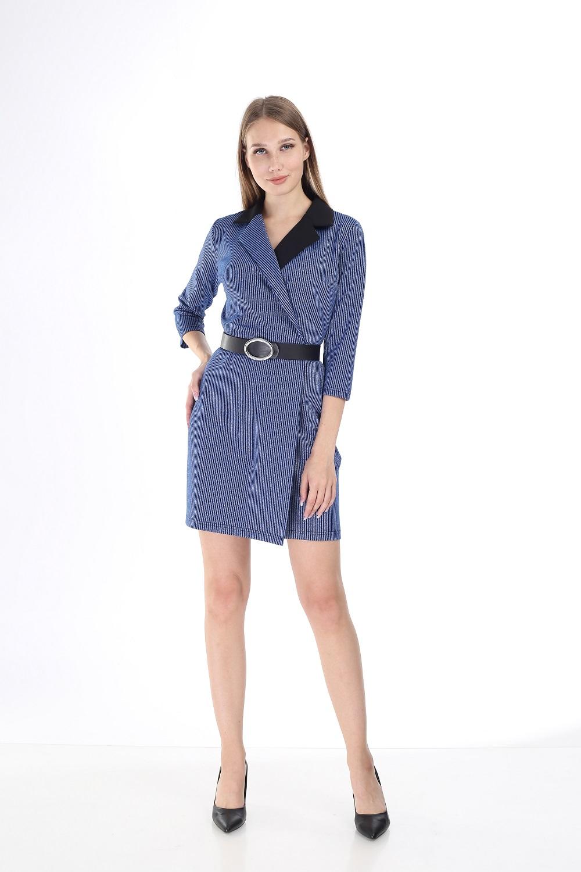 Siyah Yakalı Çizgili Mavi Elbise