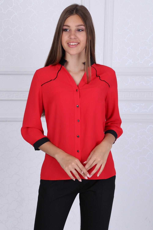 Siyah Yakalı Kırmızı Bluz