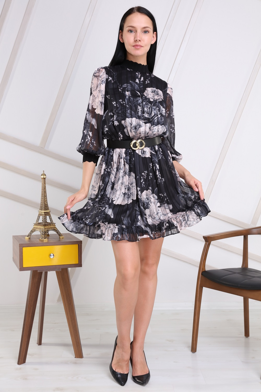 Siyah Renk Yarım Balıkçı Elbise