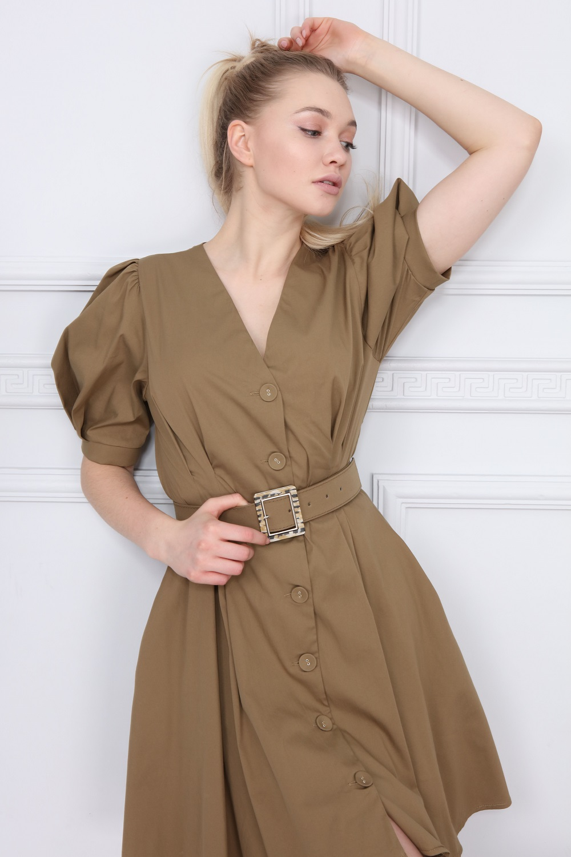 Haki V Yaka Elbise