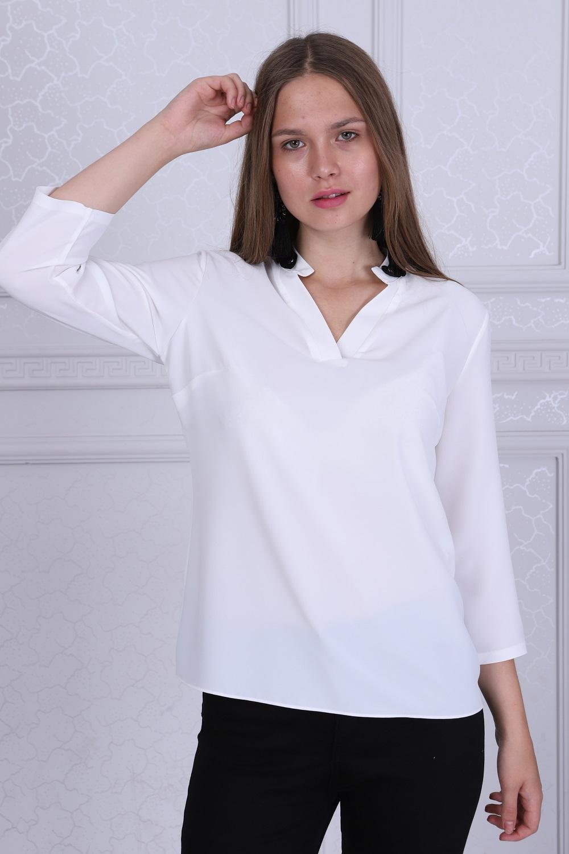 Yaka Detaylı Beyaz Renk Bluz