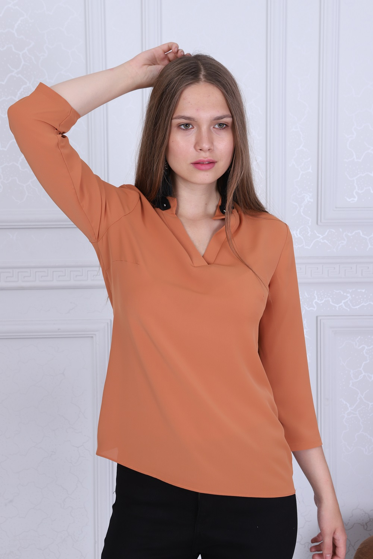 Yaka Detaylı Turuncu Renk Bluz