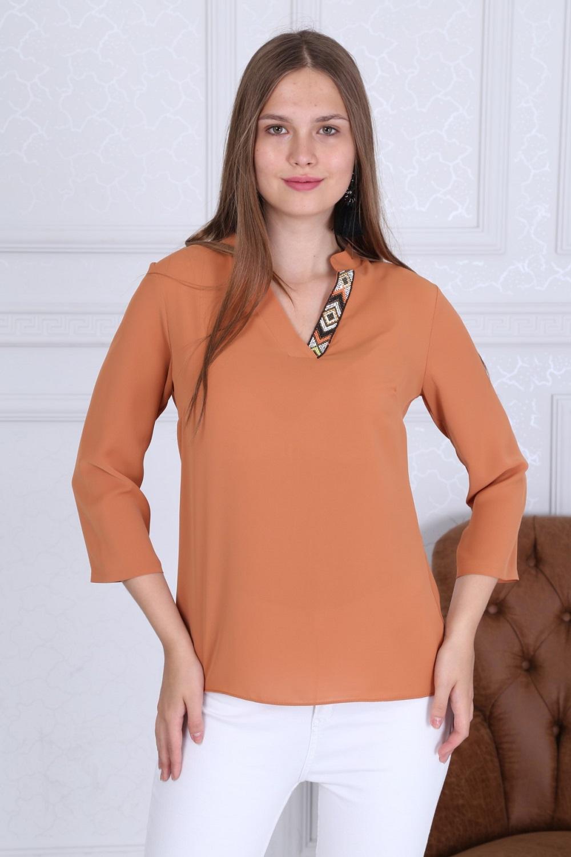 Yaka Detaylı Basic Turuncu Bluz