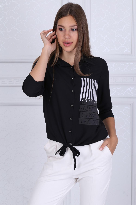 Yakalı Düğmeli Siyah Bluz