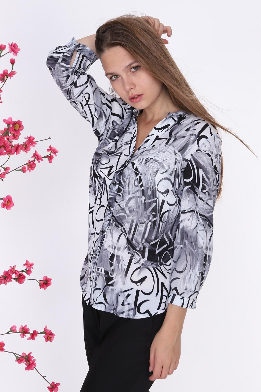 Yazı Desenli Bluz