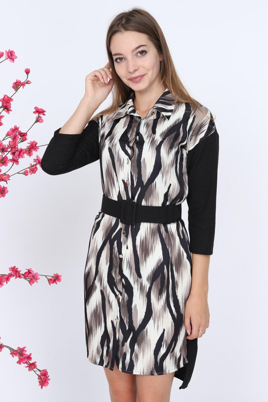 Zebra Desen Bej Elbise
