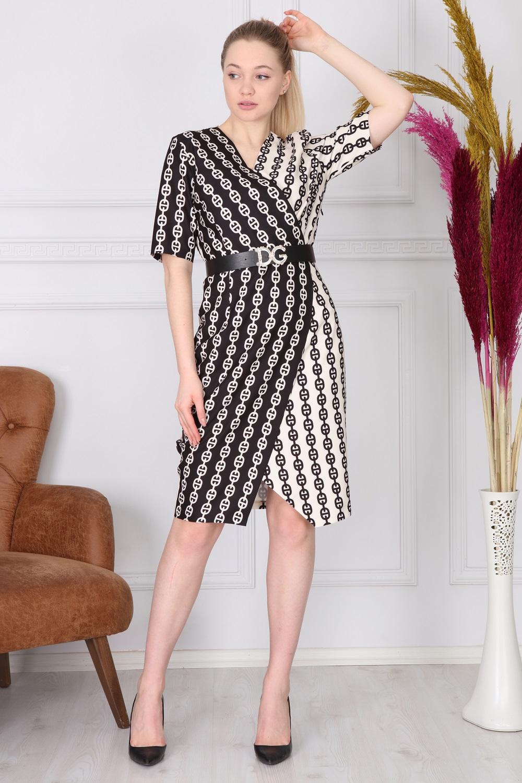 Zincir Desenli Siyah Beyaz Elbise