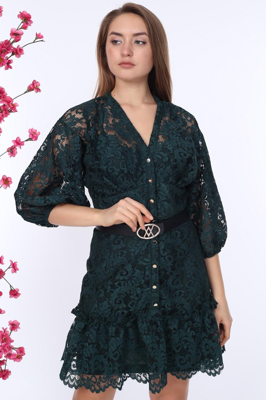 Zümrüt Düğmeli Dantelli Elbise